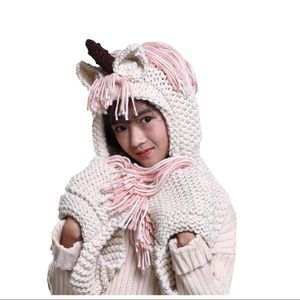 Other - Crochet Unicorn Winter Hat Scarf Pocket Hooded